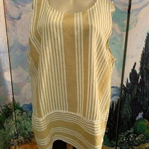 For Cynthia Beige Striped Linen Blend Tunic Top